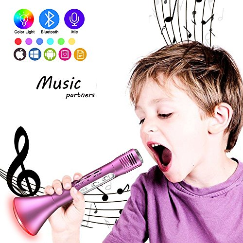 Kids Microphone Karaoke, Wireless Portable Karaoke Microphone with Bluetooth Speaker and Color Changing LED Lights for Home Party KTV Birthday Gift Compatible with PC/iPad/iPhone/Smartphone (Rose) by Ncknciz