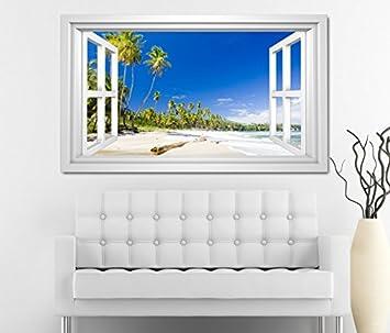 3d Wandtattoo Fenster Meer Strand Sand Palmen Paradies Weiss