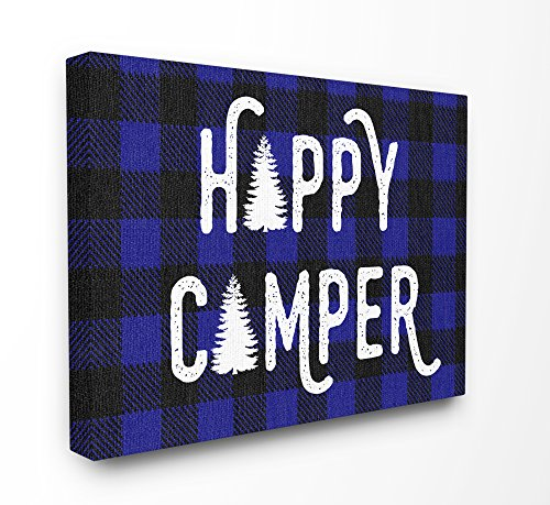 Plaid Wall Art (Stupell Industries Happy Camper Blue Black Buffalo Plaid Oversized Stretched Canvas Wall Art, 24 x 1.5 x 30, Proudly Made in USA)