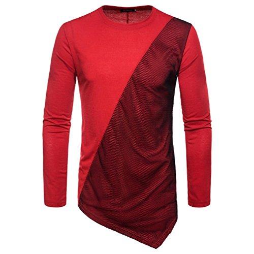 1970s Red Wool - kaifongfu Men's Long Sleeve Top,Panel T-Shirt for Men Top Sleeved Sweatshirts Tops(Red,L)