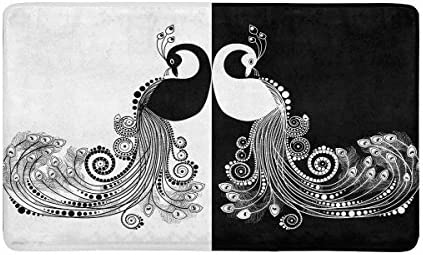 INTERESTPRINT Elegant Peacock Black and White Doormat Non Slip Indoor Outdoor Floor Door Mat Home Decor, Entrance Rug Rubber Backing Large 30 L x 18 W