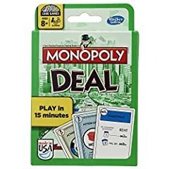 Get a handy way to play the classic property-trading game! Be the first collect 3 full property sets of different colors, and you'll win the Monopoly Deal Card Game. You'll pick up cards when it's your turn and play Action cards to charge players ren...