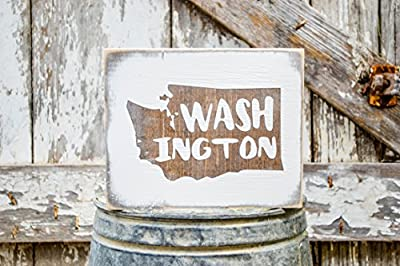 MINI Washington Rustic Wood Signs - Whitewash State Signs - Home State Decor - Personalized State Sign 6x7in