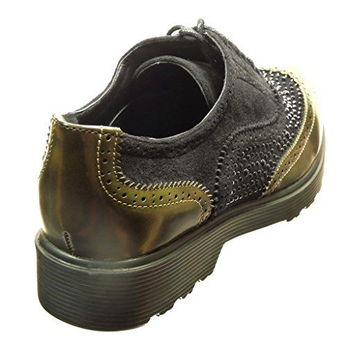 Angkorly - Chaussure Mode Richelieu Derbies bi-matière femme strass diamant perforée Talon bloc 3 CM - Vert