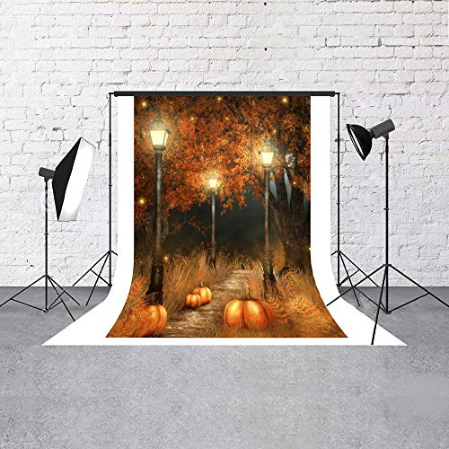 Muzi 5x7ft Halloween Photography Backdrop Halloween Party Wall Decoration Photobooth Props Children Studio Prop Children Photoshoot Vinyl Backgrond Autumn Pumpkin XT-269]()