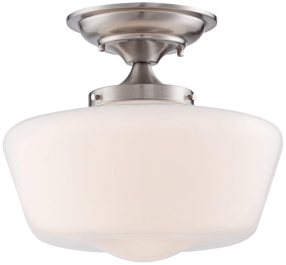 Schoolhouse floating 12 wide nickel opaque ceiling light close schoolhouse floating 12 wide nickel opaque ceiling light close to ceiling light fixtures amazon mozeypictures Images