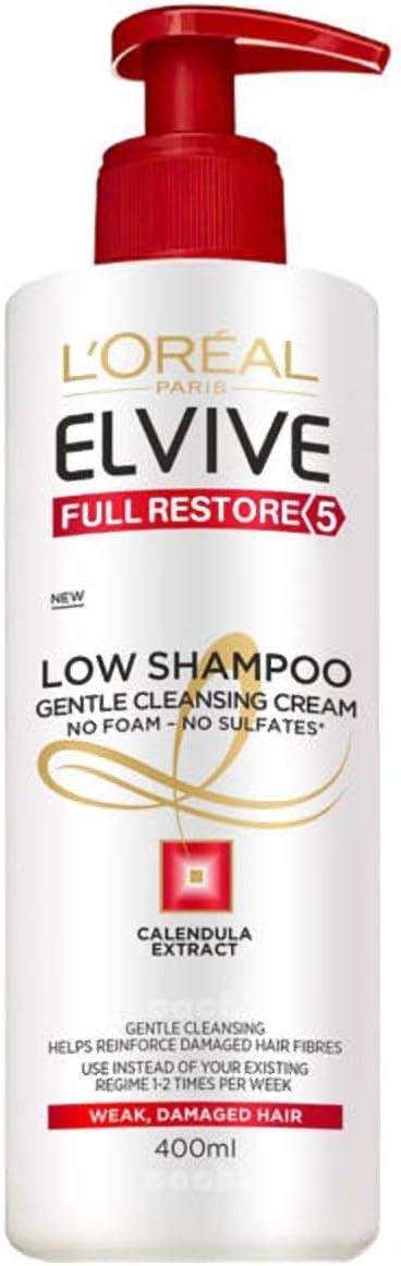 L'Oreal Paris Elvive Low Shampoo Champú, sin sulfatos, para pelo dañado y debilitado - pack de 7 unidades x 400 ml - total: 2800 ml