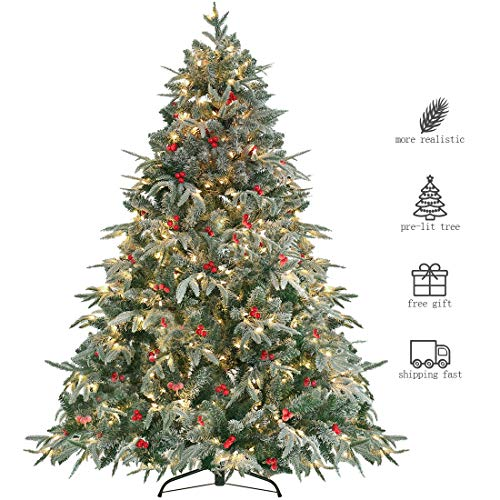 HOMAKER Pre-Lit 9ft Artificial Christmas Tree, Feel Real Snow Flocked PE Tree 1000 Clear Lights UL Certificated, Red Berries