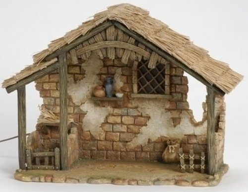 7.5 Inch Lighted Stable Only by Fontanini 50816 (Nativity Small Stable)