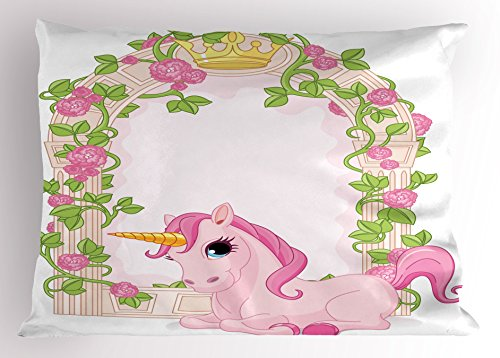 Ambesonne Teen Girls Pillow Sham, Romantic Floral Arch Frame with Roses Leaves Unicorn Decorating Illustration, Decorative Standard King Size Printed Pillowcase, 36 X 20 inches, Pink ()