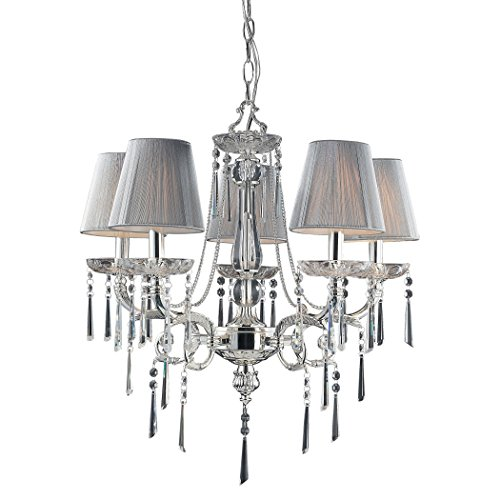 (Alumbrada Collection Princess 5 Light Chandelier In Polished Silver With Silk String Shades)