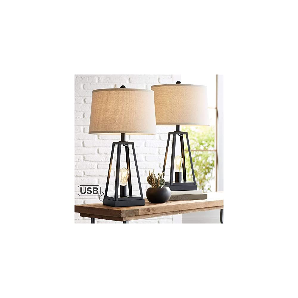 Kacey Industrial Farmhouse Table Lamps Set of 2 with USB Charging Port Nightlight LED Open Column Dark Metal Oatmeal…