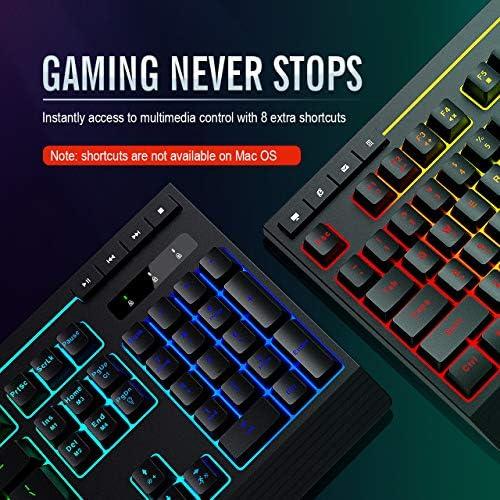 PICTEK RGB Gaming Keyboard, 8 Individual Multimedia Keys, Wired Adjustable Backlight Keyboard with Non-Fading Keycaps, 25 Keys Anti-ghosting, Splash-Proof, Ideal for Windows Mac Gaming