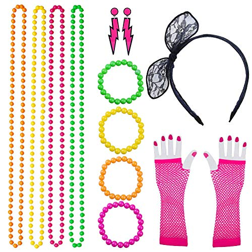 80s Costume Accessories for Women Lace Headband, Fishnet Gloves, Lightning Type Neon Earrings, Bracelet, and -