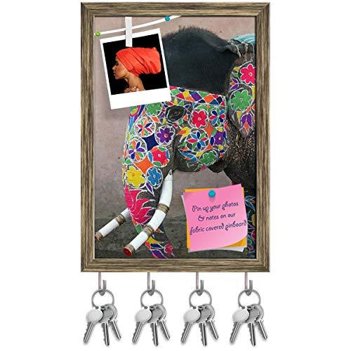 Artzfolio Annual Elephant Festival in Jaipur India Key Holder Hooks | Notice Pin Board | Antique Golden Frame 12 X 17.5Inch (Annual Elephant)