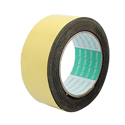 uxcell 45mm Width 1mm Thickness Single Side Sponge Foam Tape Black 5 Meter Length