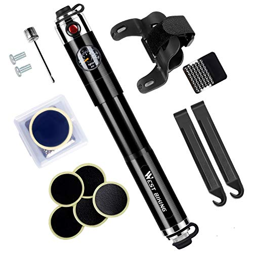 Mini Bike Bi-Directional Pump with Gauge - Fits Presta & Schrader, 160Psi High Pressure Portable Bicycle Air Pump for Road Mountain BMX Bikes, Includes 2 pcs Tire Pry Bars Rods and Tire Patches