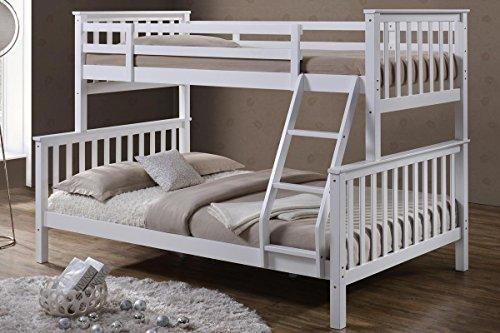 'Oscar' White Solid Pine Wood Triple Sleeper Bunk Bed- Single & Double by 'Sleep Design'