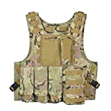 FENICAL Mens Military Tactical Army Polyester Waistcoat Outdoor Photography Camping Hunting Fishing Vest (Camouflage)