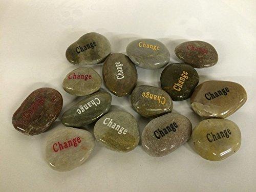 CHOIS Wholesale Bulk Lot Big Inspirational Etched Word Stones Spirit of Encouragement Stone Angel (200P, Change)