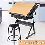 tabletop craft drawers - Yaheetech Art & Craft Drawing Board Drafting Desk Table Folding with Stool and Drawers
