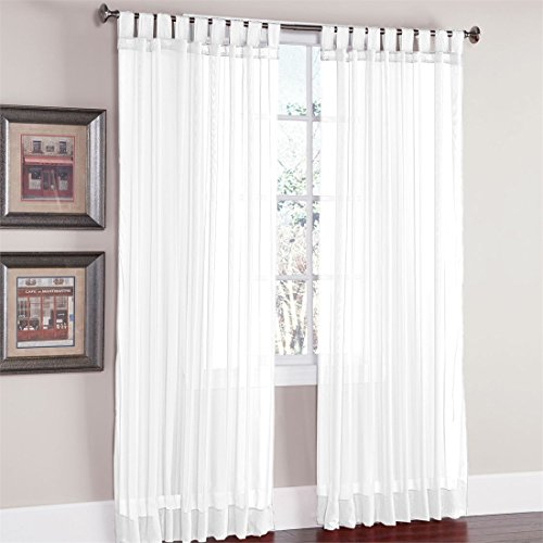 Brylanehome Studio Voile Tab-Top Curtain (White,60″ W 95″ L)