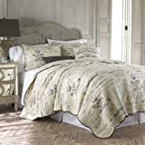 Histoire Grey 3 Piece Full Queen Quilt Set Charcoal Grey,Ivory