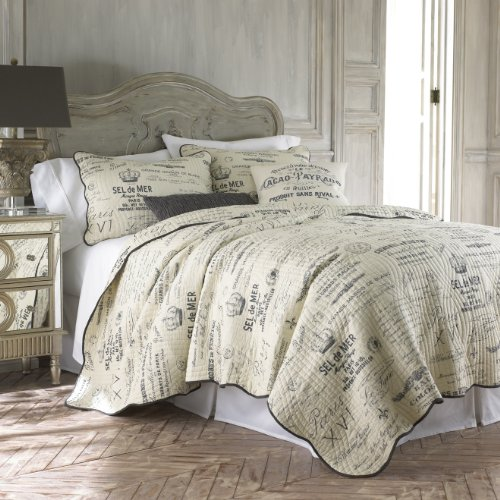 - Histoire Grey 3 Piece Full Queen Quilt Set Charcoal Grey,Ivory