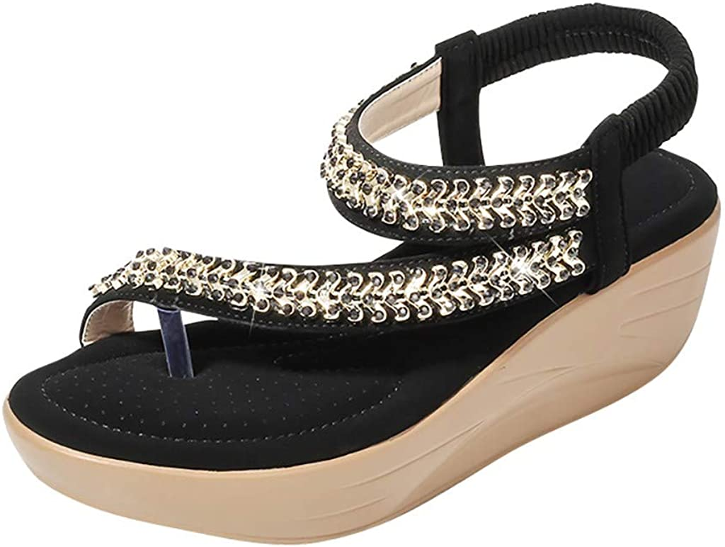 ♥YWLINK Zapatos Mujer CuñA Bohemia Damas Cristal Sandalias Chanclas De Playa Flip Zapatos Casuales TamañO Grande Zapatillas Fiesta De Coctel Regalo del DíA De Miembro De 2019 Zapatos Romanos