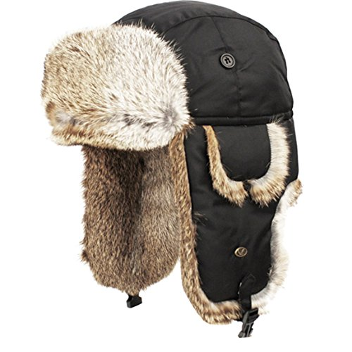 Real Rabbit Fur Trapper Hunting Hat Aviator Winter Cap (Black)
