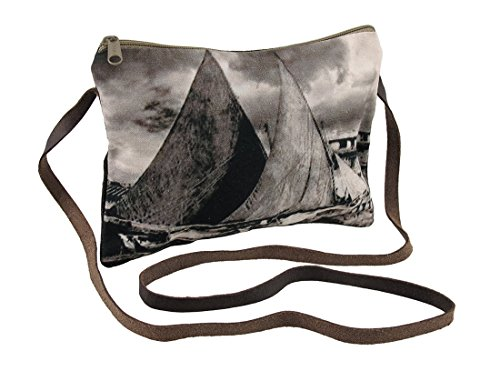 Sailboats And Cloudy Skies Sepia Tone Cross Body Purse