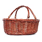 MEIEM Wicker Picnic Basket Hamper with Double Folding Handles, Oval Storage Basket with Handles.(Brown)