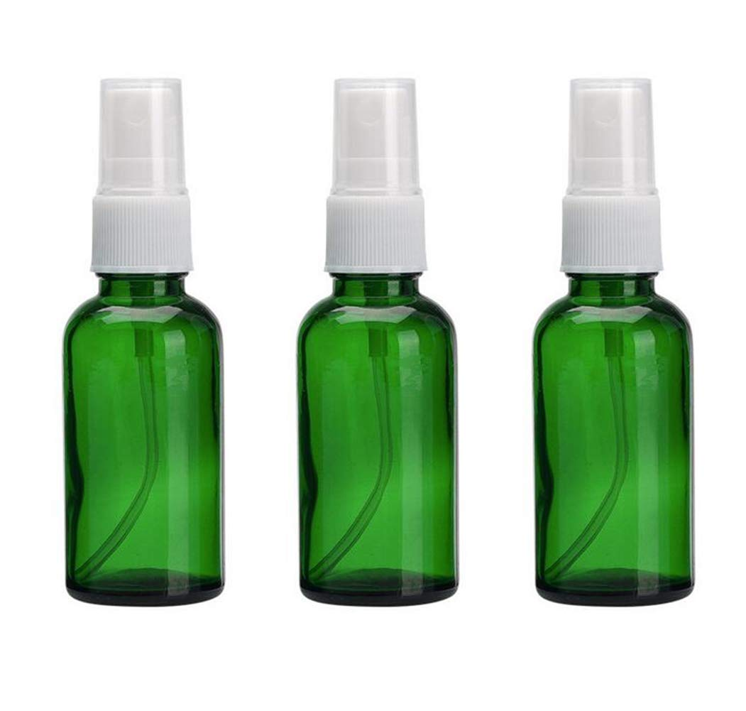 3PCS 30ML/1oz Refill Portable Glass Fine Mist Spray Vial Bottle Jar Pots Atomizers with White Sprayer Perfume Makeup Water Pure Dew Cosmetic Storage Container Organizer(Green)