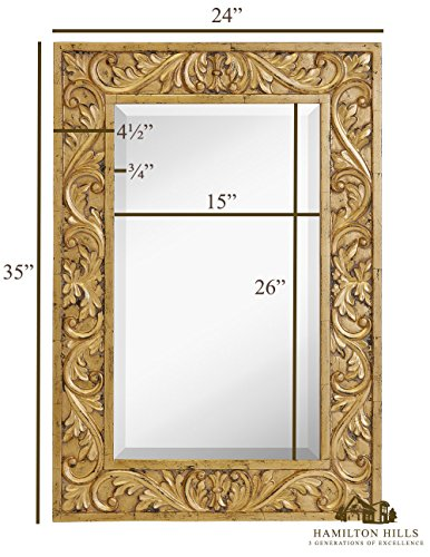 Hamilton Hills Large Gold Antique Inlay Baroque Styled Framed Mirror Aged Elegant Rectangular Glass Wall Mirror Vanity, Bedroom, or Bathroom Hangs Horizontal or Vertical 24 x 35