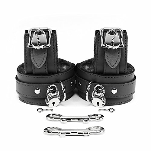 VP Leather Berlin Lockable Wrist and Ankle Cuffs Combo Handmade Lambskin Leather Handcuffs and Leg Cuffs (Black) by VP Leather