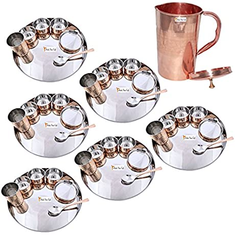 Prisha India Craft Set Of 6 Dinnerware Traditional Stainless Steel Copper Dinner Set Of Thali Plate Bowls Glass And Spoon Dia 13 With 1 Pure Copper Embossed Pitcher Jug Christmas Gift