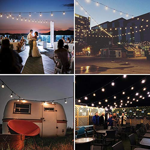 Foxlux Solar String Lights,48FT LED Outdoor String Light,Shatterproof&Waterproof Heavy-Duty Pergola Lights,15 Hanging Sockets,Light Control,S14 Plastic Edison Bulbs,Create Ambience for Bistro,Patio by Foxlux (Image #4)