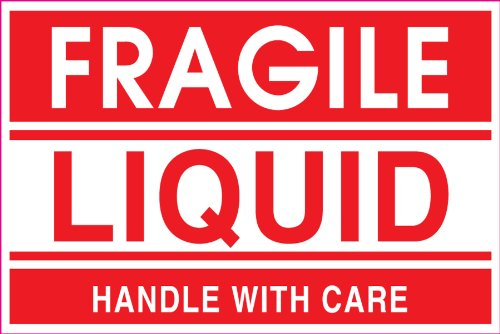 Ace Liquid - Adhesive Label Preprinted Fragile Liquid Shipping Label, 2 x 3 Inches, Red, Roll of 500 (23007F)