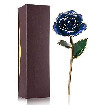 Filfeel 24K Gold Rose para True Love, Dating/Love/Thanksgiving Love Ocean (Azul oscuro): Amazon.es: Hogar
