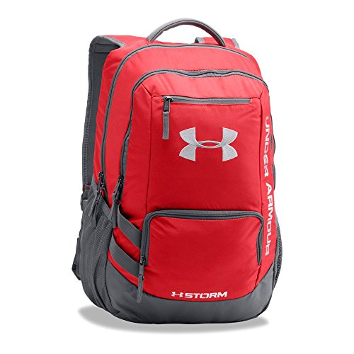 Tote Tech Nylon Bag - Under Armour Hustle 2.0 Backpack, Red (600)/Silver, One Size