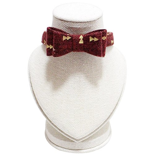 PetFavorites Small Dog Costume Collar - Plaid Bowtie Kitten Bandana Collar for Halloween - Teacup Yorkie Chihuahua Clothes Outfits Accessories, Adjustable & Handmade (Dark Red Bow Tie) ()