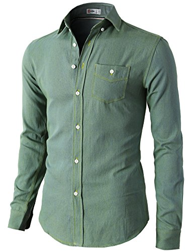 H2H Casual Slim Fit Button Down Collar
