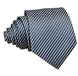 Ctskyte Men Boys Classic Fine Stripe Jacquard Woven Ties Formal Business Necktie, Grey Silver, One Size