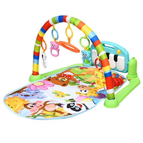 BABY JOY Baby Play Mat Explore Activity Musical Gym, Kick and Play Newborn Mat with Detachable Piano, Foot Gym Carpet Piano Fitness Rack, 4 Rattle Pendants and 1 Mirror, Ideal for Baby Room Rainbow
