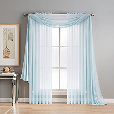 """Window Elements Diamond Sheer Voile 56 x 216 in. Curtain Scarf, Light Blue - Includes (1) unlined 56"""" W x 216"""" L curtain panel scarf Drape scarf over curtain rod and matching sheer curtain panels (coordinating panels and curtain rod sold separately) Very sheer fabric gently filters light - living-room-soft-furnishings, living-room, draperies-curtains-shades - 51PyON9eO5L. SS400  -"""