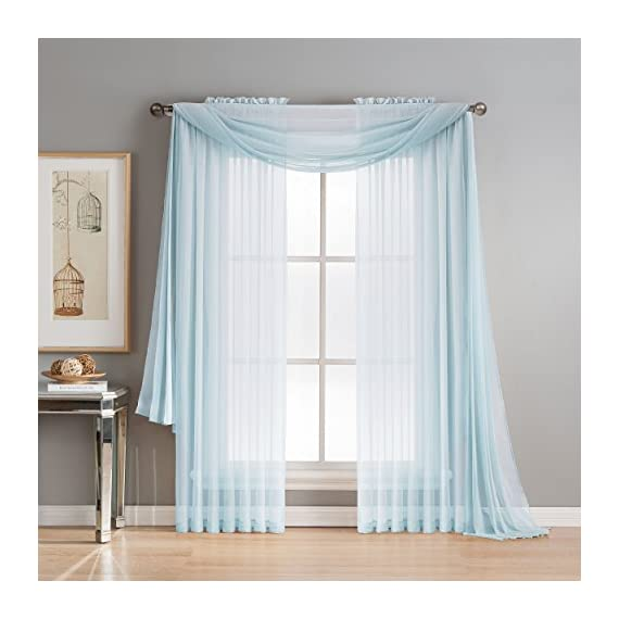 "Window Elements Diamond Sheer Voile 56 x 216 in. Curtain Scarf, Light Blue - Includes (1) unlined 56"" W x 216"" L curtain panel scarf Drape scarf over curtain rod and matching sheer curtain panels (coordinating panels and curtain rod sold separately) Very sheer fabric gently filters light - living-room-soft-furnishings, living-room, draperies-curtains-shades - 51PyON9eO5L. SS570  -"