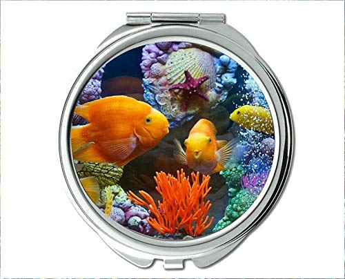 r,red fish theme of Pocket Mirror,portable mirror 1 X 2X Magnifying ()