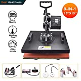 Power Heat Press Machine 15' X 15' Professional Swing Away Heat Transfer 8 in 1 Digital Sublimation 360-Degree Rotation Multifunction Combo for T-Shirt Mugs Hat Plate Cap