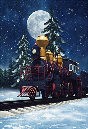 AOFOTO 5x7ft Old Locomotive On Track Backdrop Train Photography Background Moon Night Snowflake Kid Child Boy Artistic Portrait Winter Xmas Tree Photo Studio Props Video Drop Vinyl Wallpaper