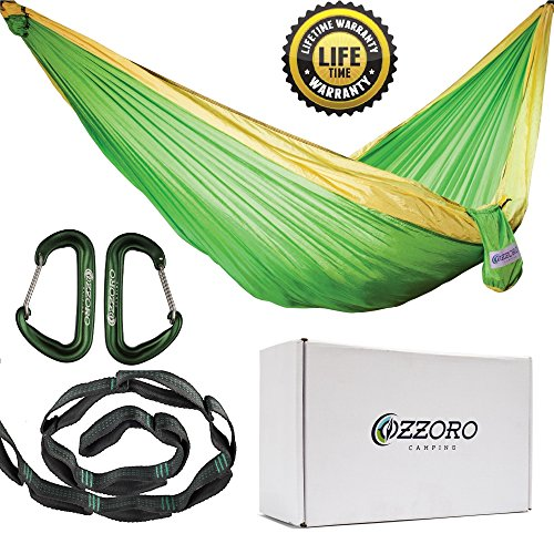 Double Hammock With Tree Straps – XL Camping Hammock Lightweight Portable Heavy Duty Two Person Parachute Nylon Hammock For Backpacking Outdoor Camp (Light Green/Light Yellow) (Single Silk 12')